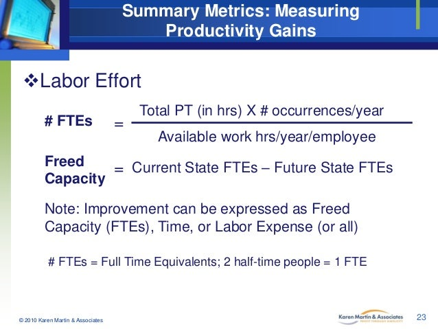 Summary Metrics: Measuring Productivity Gains  Labor Effort # FTEs  =  Total PT (in hrs) X # occurrences/year Available w...