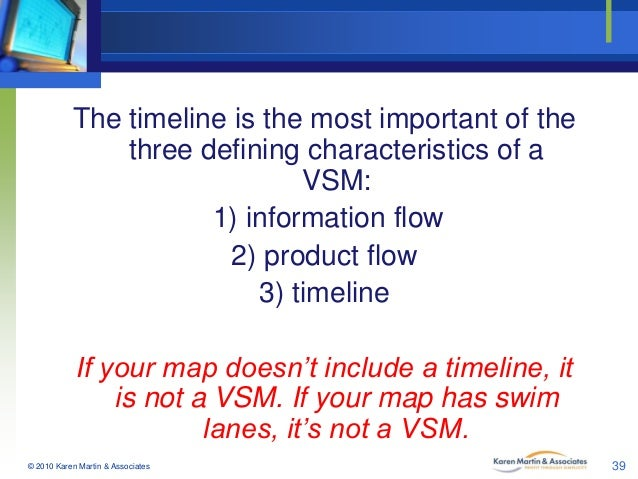 The timeline is the most important of the three defining characteristics of a VSM: 1) information flow 2) product flow 3) ...