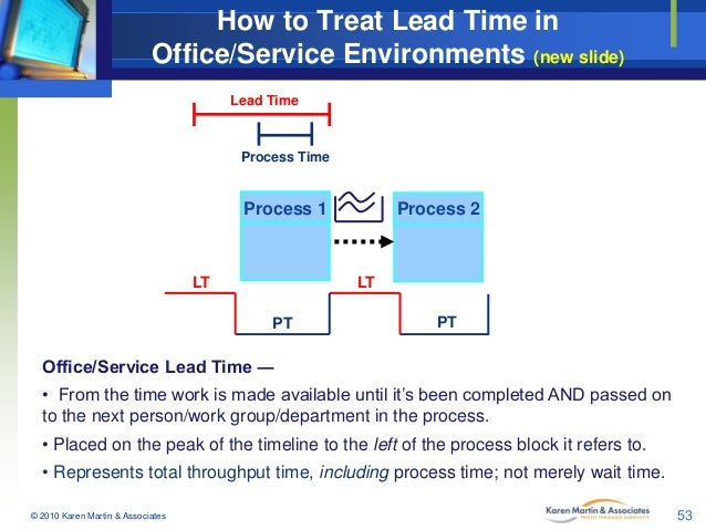 How to Treat Lead Time in Office/Service Environments (new slide) Lead Time  Process Time  Process 1  LT  Process 2  LT PT...