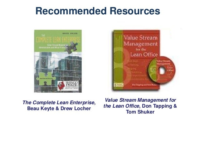 Recommended Resources  The Complete Lean Enterprise, Beau Keyte & Drew Locher  Value Stream Management for the Lean Office...