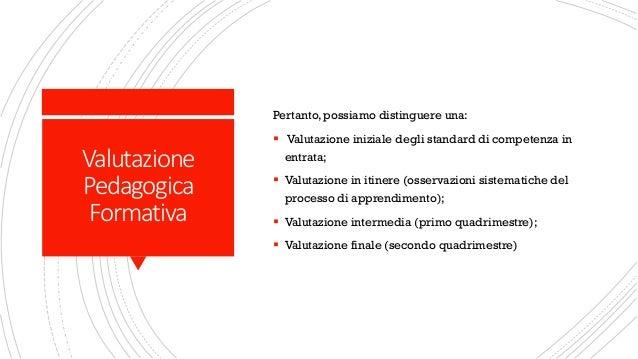 Valutazione Pedagogica Formativa Pertanto, possiamo distinguere una: ▪ Valutazione iniziale degli standard di competenza i...
