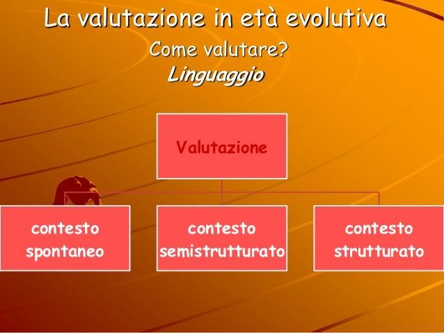 La valutazione in età evolutiva Come valutare? Linguaggio Valutazione contesto spontaneo contesto semistrutturato contesto...