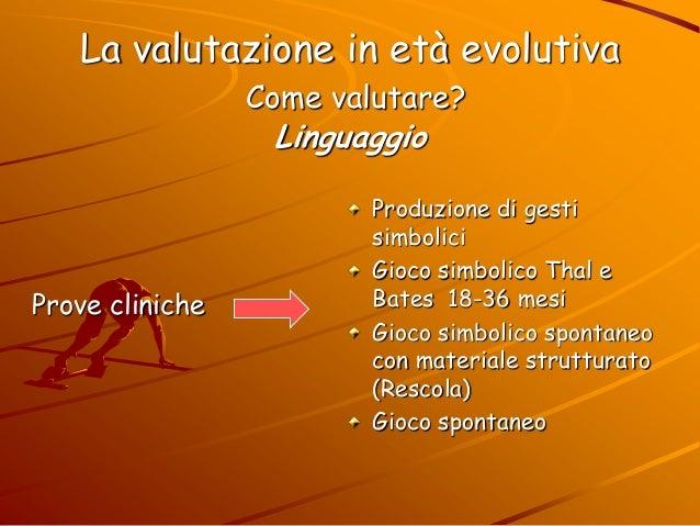 La valutazione in età evolutiva Come valutare? Linguaggio Prove cliniche Produzione di gesti simbolici Gioco simbolico Tha...