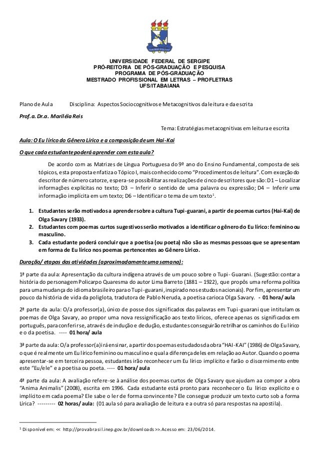 UNIVERSIDADE FEDERAL DE SERGIPE PRÓ-REITORIA DE PÓS-GRADUAÇÃO E PESQUISA PROGRAMA DE PÓS-GRADUAÇÃO MESTRADO PROFISSIONAL E...