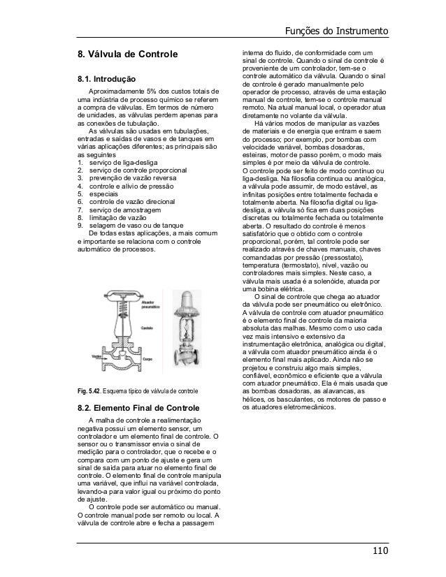 Funções do Instrumento 110 8. Válvula de Controle 8.1. Introdução Aproximadamente 5% dos custos totais de uma indústria de...