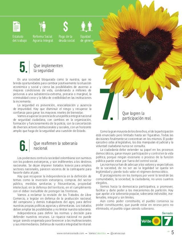 $ Estatuto del trabajo  Reforma Social Agraria Integral  Pago de la deuda social  Equidad de género  Que implementen la se...