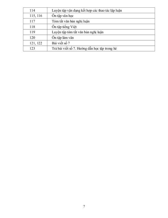 114 Luyện tập vận dụng kết hợp các thao tác lập luận 115, 116 Ôn tập văn học 117 Tóm tắt văn bản nghị luận 118 Ôn tập tiến...