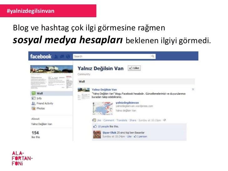 #yalnizdegilsinvan  Blog ve hashtag çok ilgi görmesine rağmen  sosyal medya hesapları beklenen ilgiyi görmedi.