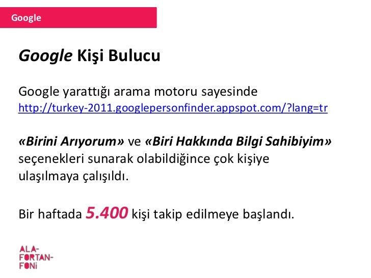 Google Japonya depreminde uygulanan bu yazılım Türkiye için yeniden hazırlandı ve büyük beğeni topladı.
