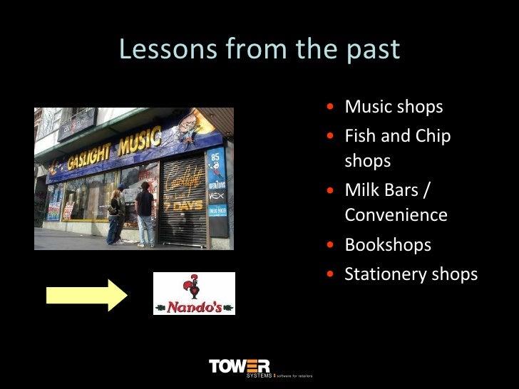 Lessons from the past <ul><li>Music shops </li></ul><ul><li>Fish and Chip shops </li></ul><ul><li>Milk Bars / Convenience ...
