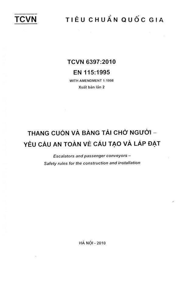 TCVN 6397 2010. hang cuốn và băng tải chở người - Yêu cầu an toàn về cấu tạo và lắp đặt