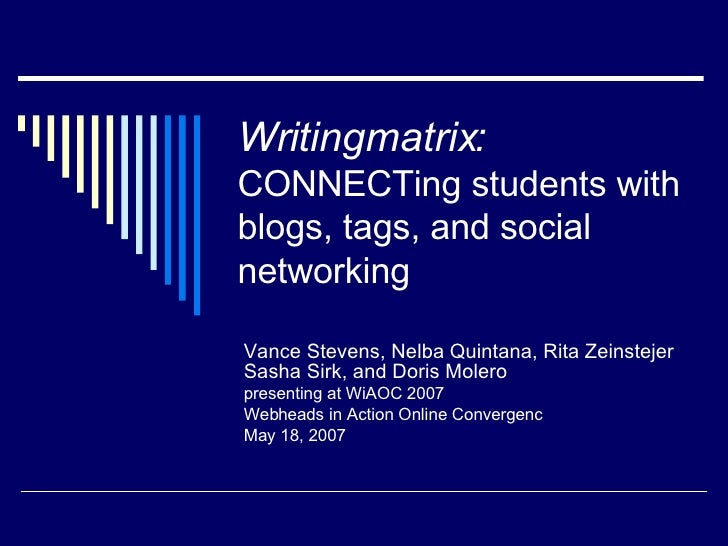 Writingmatrix:   CONNECTing students with blogs, tags, and social networking Vance Stevens, Nelba Quintana, Rita Zeinsteje...