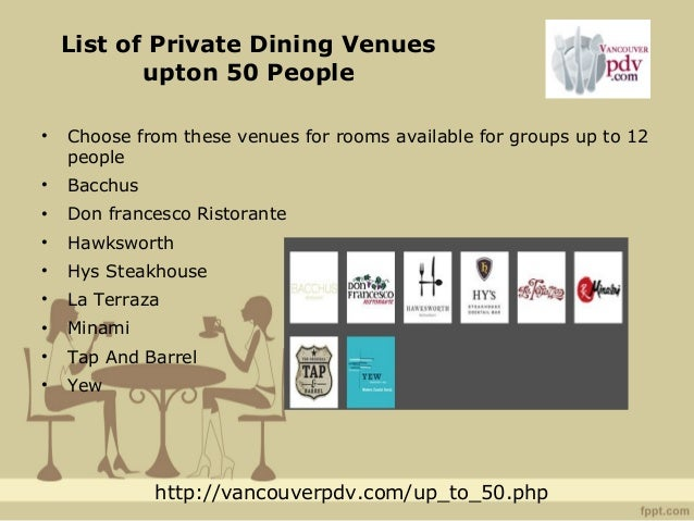 Vancouver Private Dining Venues Private Dining Venues In