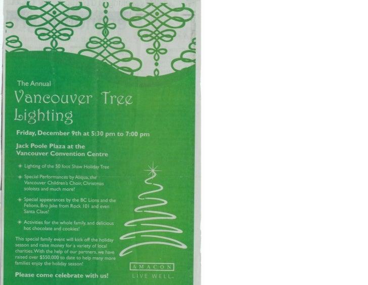 Vancouver Tree Lighting Celebrations 2012