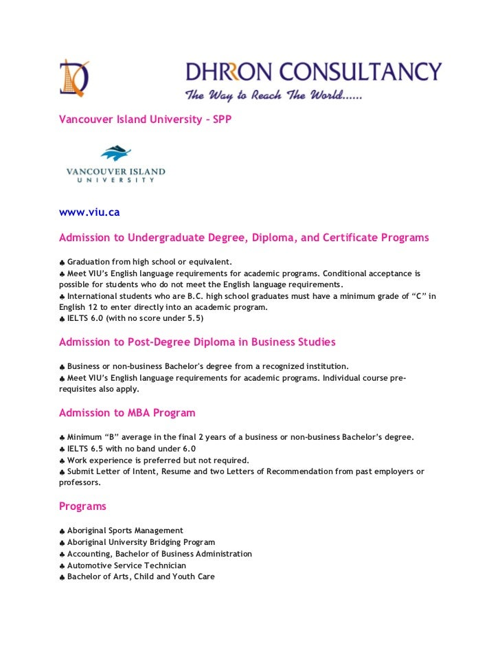 Vancouver Island University – SPPwww.viu.caAdmission to Undergraduate Degree, Diploma, and Certificate Programs♣ Graduatio...