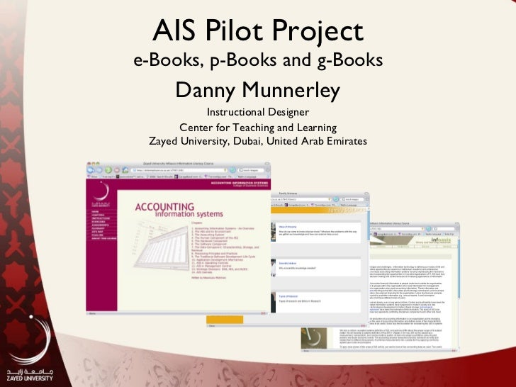 AIS Pilot Project e-Books, p-Books and g-Books Danny Munnerley Instructional Designer Center for Teaching and Learning Zay...