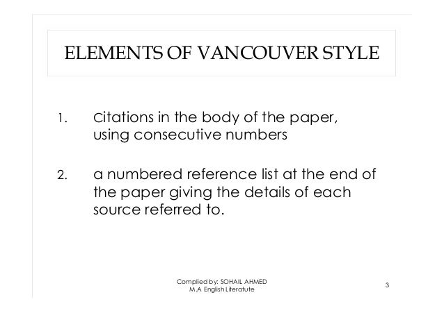 Vancouver style by Sohail Ahmed Solangi Slide 3