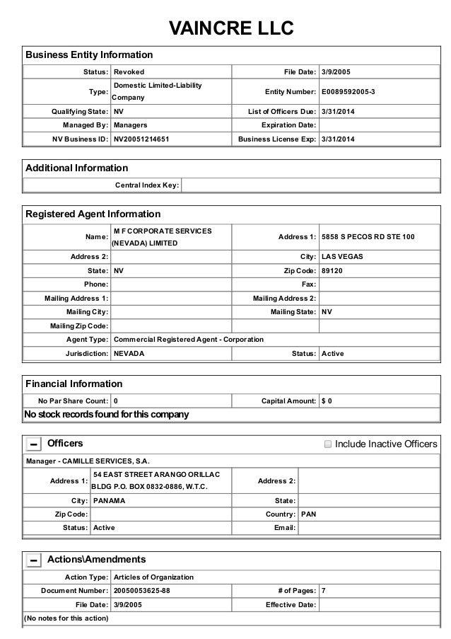 VAINCRELLC BusinessEntityInformation Status: Revoked FileDate: 3/9/2005 Type: DomesticLimitedLiability Compan...