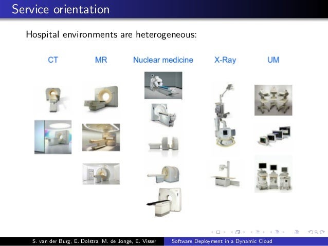 Service orientation Hospital environments are heterogeneous: S. van der Burg, E. Dolstra, M. de Jonge, E. Visser Software ...
