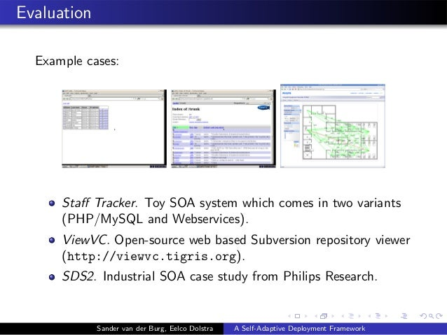 Evaluation Example cases: Staff Tracker. Toy SOA system which comes in two variants (PHP/MySQL and Webservices). ViewVC. Op...