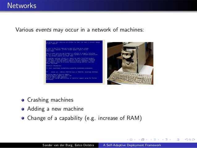 Networks Various events may occur in a network of machines: Crashing machines Adding a new machine Change of a capability ...