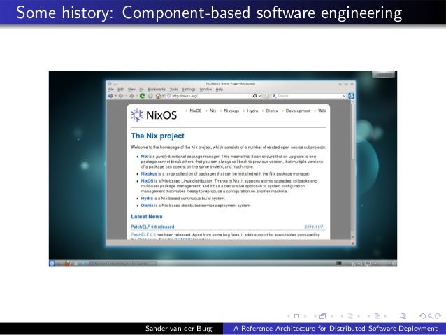 Some history: Component-based software engineering Sander van der Burg A Reference Architecture for Distributed Software D...