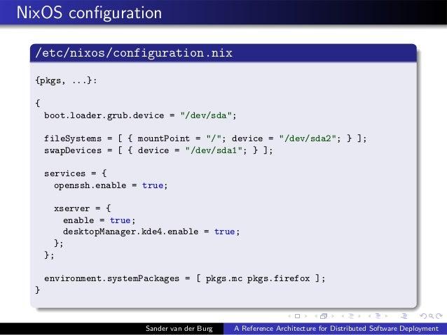 "NixOS configuration /etc/nixos/configuration.nix {pkgs, ...}: { boot.loader.grub.device = ""/dev/sda""; fileSystems = [ { mou..."