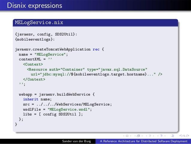 Disnix expressions MELogService.nix {javaenv, config, SDS2Util}: {mobileeventlogs}: javaenv.createTomcatWebApplication rec...