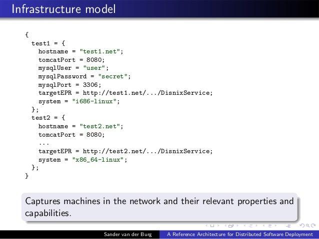 """Infrastructure model { test1 = { hostname = """"test1.net""""; tomcatPort = 8080; mysqlUser = """"user""""; mysqlPassword = """"secret""""; ..."""