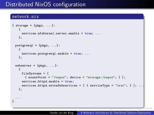 Distributed NixOS configuration network.nix { storage = {pkgs, ...}: { services.nfsKernel.server.enable = true; ... }; post...