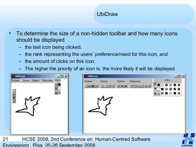 21 HCSE 2008, 2nd Conference on Human-Centred Software Engineering , Pisa, 25-26 September 2008 UbiDraw • To determine the...