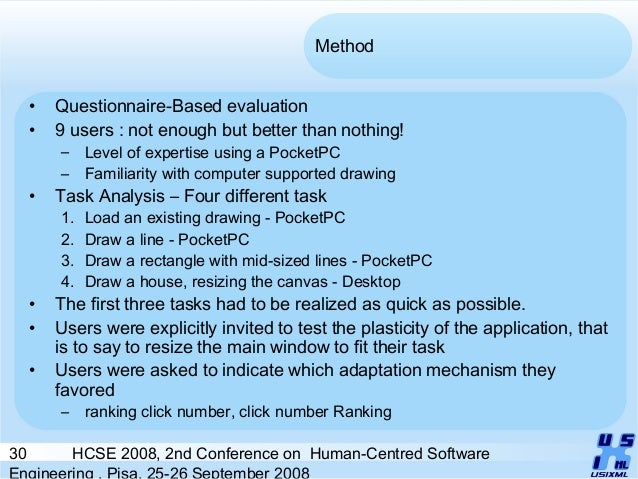 30 HCSE 2008, 2nd Conference on Human-Centred Software Engineering , Pisa, 25-26 September 2008 Method • Questionnaire-Bas...