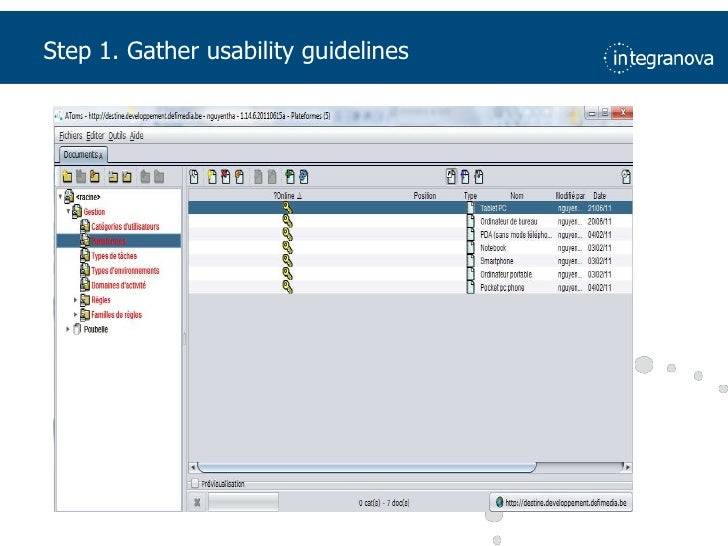 Step 1. Gatherusability guidelines<br />