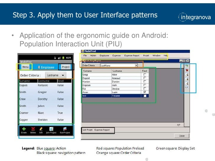Step 3. Apply them to User Interface patterns<br />Application of the ergonomic guide on Android: Population Interaction U...