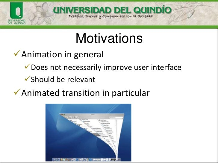 MotivationsAnimation in general  Does not necessarily improve user interface  Should be relevantAnimated transition in...