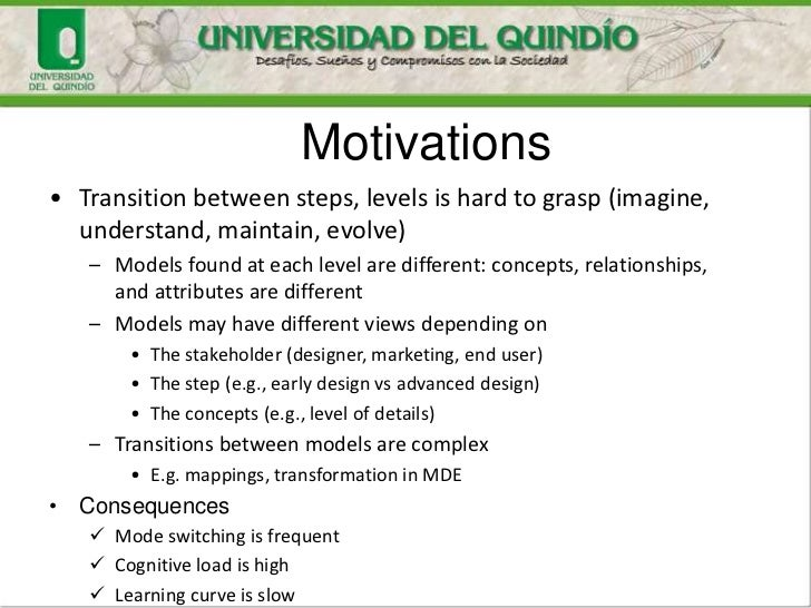 Motivations• Transition between steps, levels is hard to grasp (imagine,  understand, maintain, evolve)   – Models found a...