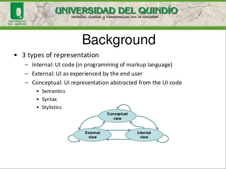 Background• 3 types of representation   – Internal: UI code (in programming of markup language)   – External: UI as experi...