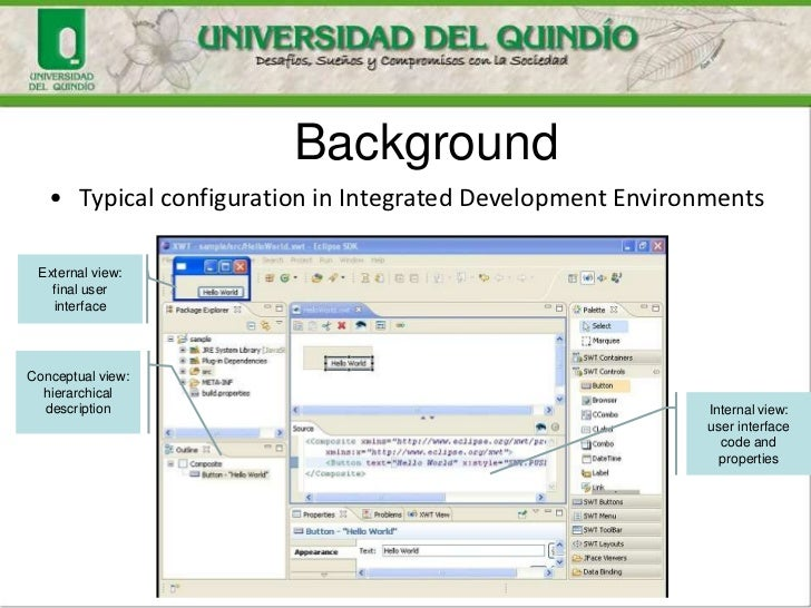 Background   • Typical configuration in Integrated Development Environments External view:   final user   interfaceConcept...