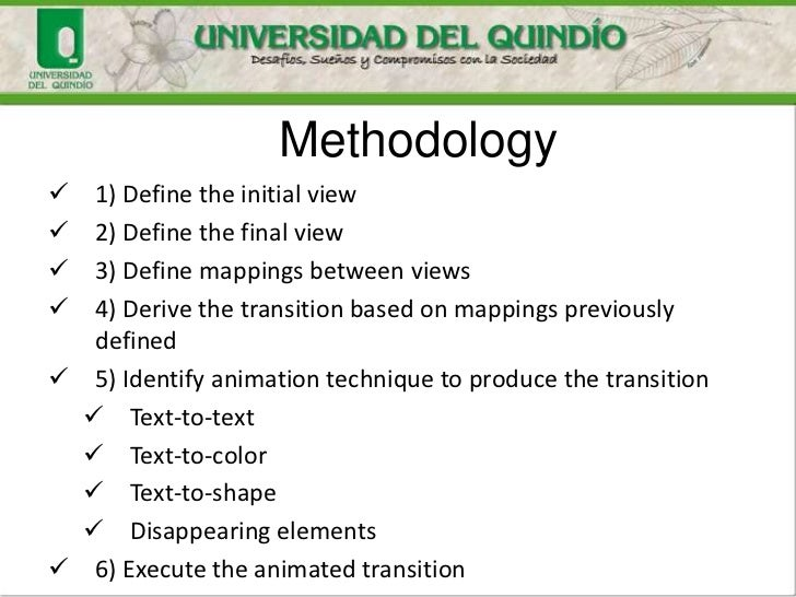 Methodology  1) Define the initial view  2) Define the final view  3) Define mappings between views  4) Derive the tra...