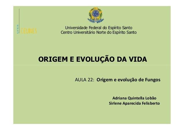 Universidade Federal do Espírito Santo Centro Universitário Norte do Espírito Santo ORIGEM E EVOLUÇÃO DA VIDA AULA 22: Ori...
