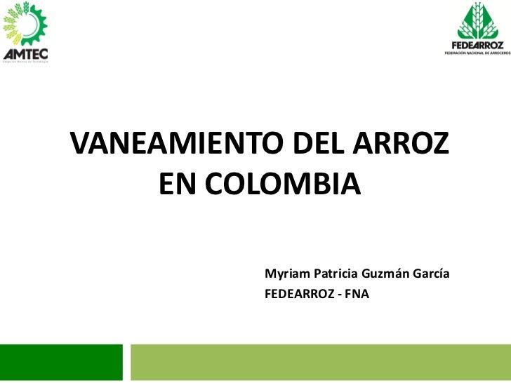 VANEAMIENTO DEL ARROZ     EN COLOMBIA          Myriam Patricia Guzmán García          FEDEARROZ - FNA