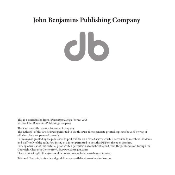John Benjamins Publishing CompanyThis is a contribution from Information Design Journal 18:2© 2010. John Benjamins Publish...