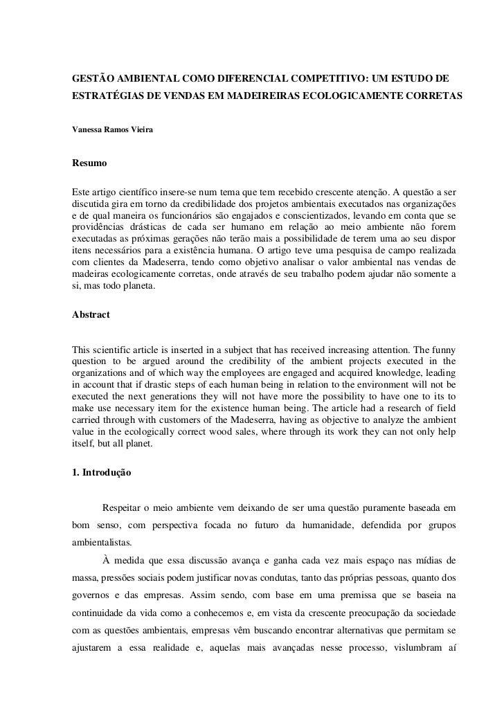 GESTÃO AMBIENTAL COMO DIFERENCIAL COMPETITIVO: UM ESTUDO DEESTRATÉGIAS DE VENDAS EM MADEIREIRAS ECOLOGICAMENTE CORRETASVan...