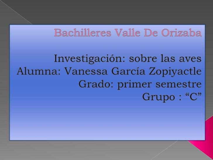 Bachilleres Valle De Orizaba<br />Investigación: sobre las aves<br />Alumna: Vanessa García Zopiyactle<br />Grado: primer ...