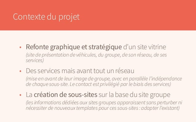 Contexte du projet • Refonte graphique et stratégique d'un site vitrine  (site de présentation de véhicules, du groupe, ...