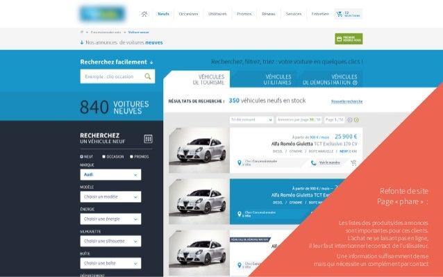 Refonte de site Page «phare» : Les listes des produits/des annonces sont importantes pour ces clients. L'achat ne se fa...