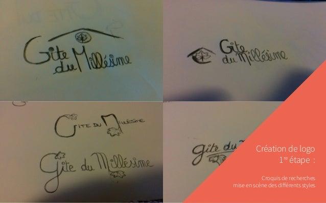 Création de logo 1re étape : Croquis de recherches mise en scène des différents styles