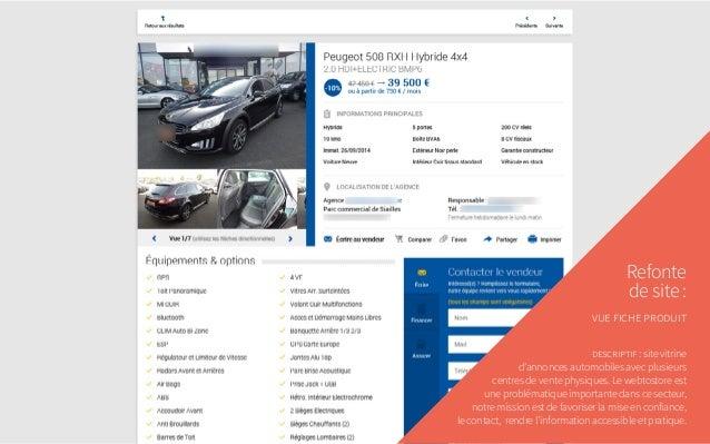 Refonte de site: vue fiche produit descriptif: site vitrine d'annonces automobiles avec plusieurs centres de vente physi...