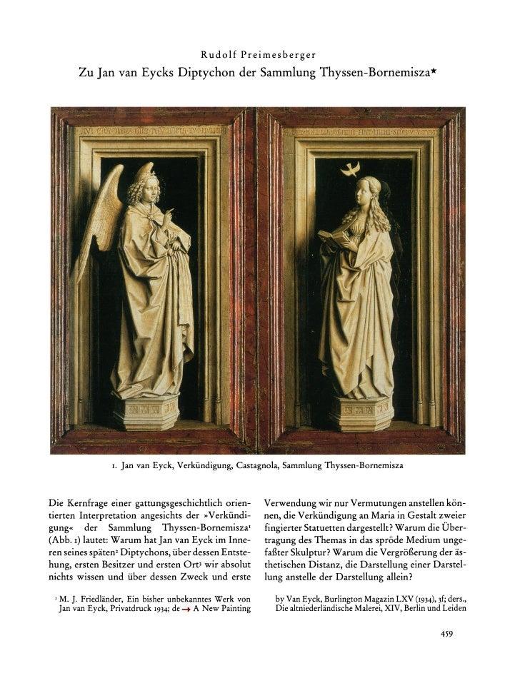 Rudolf    Preimesberger        Zu Jan van Eycks Diptychon der SammlungThyssen-Bornemisza*                     I. Jan van E...