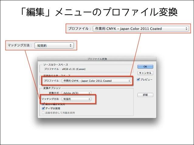 「編集」メニューのプロファイル変換